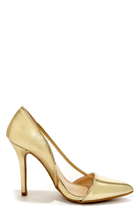 Anne Michelle Momentum 39 Gold and Mesh D'Orsay Heels at Lulus.com!