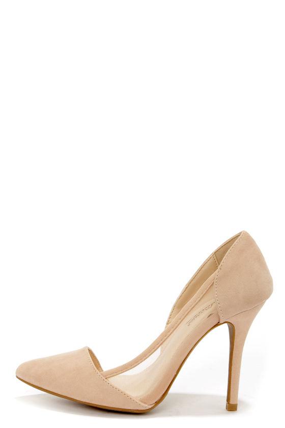 Sexy Nude Heels - D&39Orsay Heels - Vegan Suede Heels - $34.00