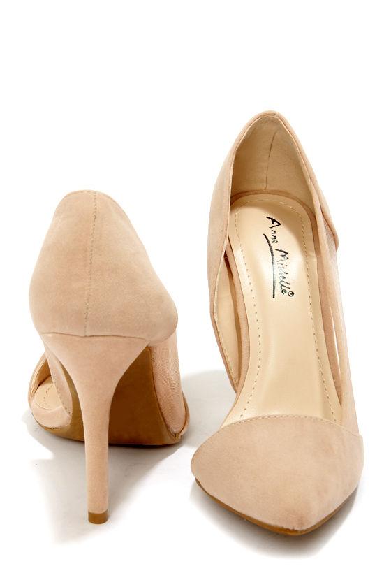 Sexy Nude Heels - D'Orsay Heels - Vegan Suede Heels - $34.00