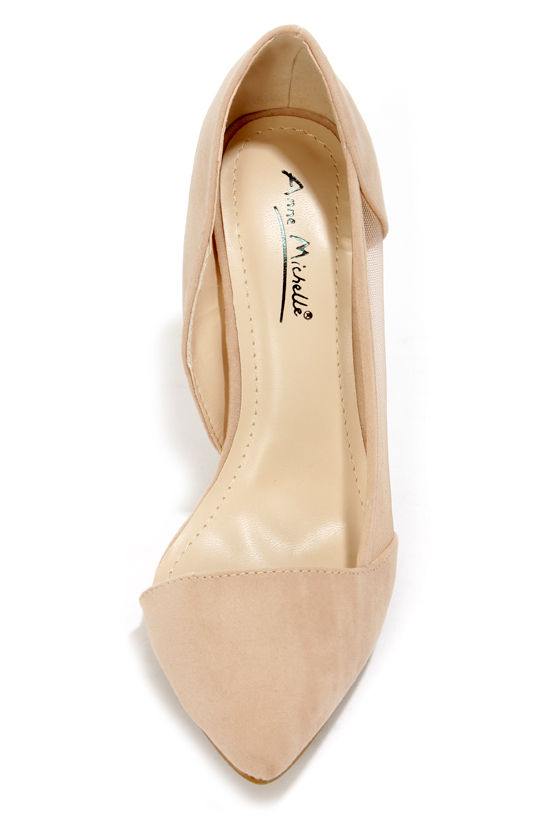 Anne Michelle Momentum 39 Nude Suede and Mesh D'Orsay Heels at Lulus.com!