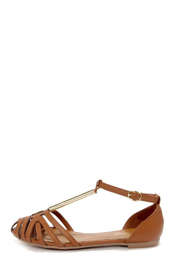b9dd85e5522b Cute Brown Shoes - Ankle Strap Flats - Brown Flats -  23.00
