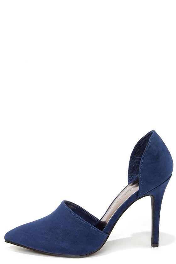 Cute Navy Blue Heels - D Orsay Heels - Pointed Toe Pumps -  32.00 b652c0353