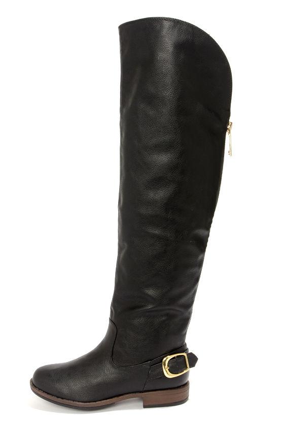 32d89aada1d2 Cute Black Boots - Over the Knee Boots - Flat Boots - OTK Boots -  49.00