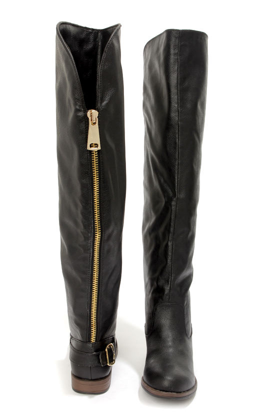 Bamboo Montage 80X Black Over the Knee Flat Boots at Lulus.com!
