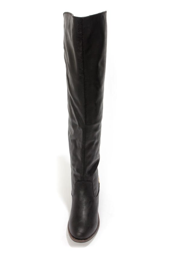 Cute Black Boots - Over the Knee Boots - Flat Boots - OTK Boots ...