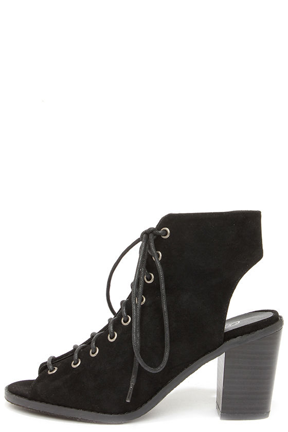 8bf05a13 Tyler 11 Black Lace-Up Peep Toe Booties