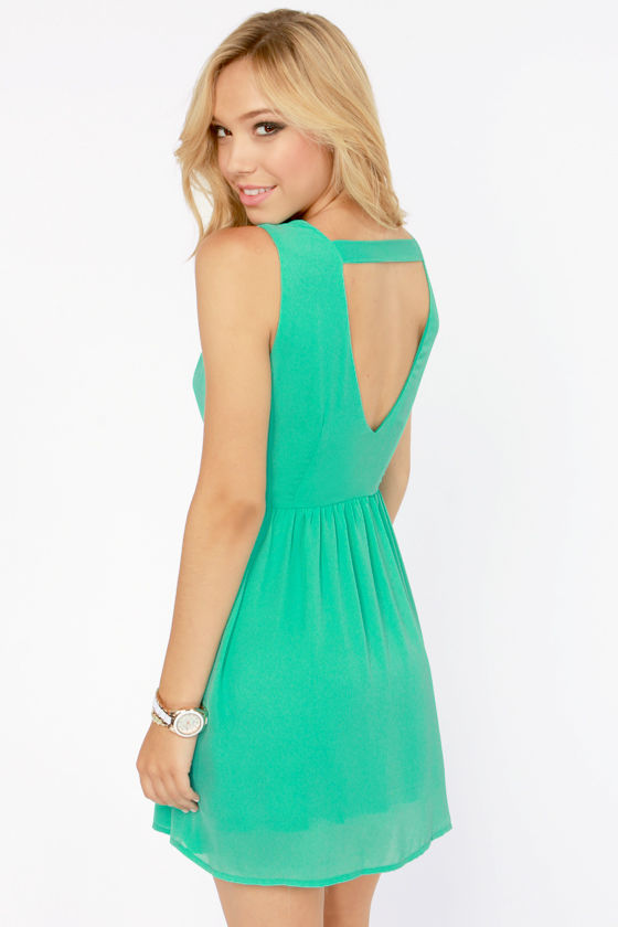 Fast as Lightning Sea Green Cutout Dress at Lulus.com!