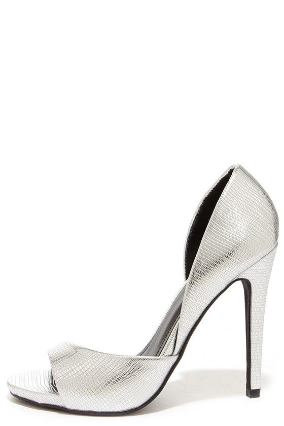 Pretty Silver Heels - D'Orsay Heels - Peep Toe Heels - $32.00