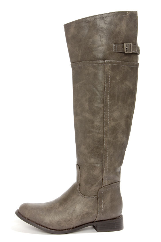 Cute Taupe Boots - Knee High Boots - Riding Boots - Tall Boots ...