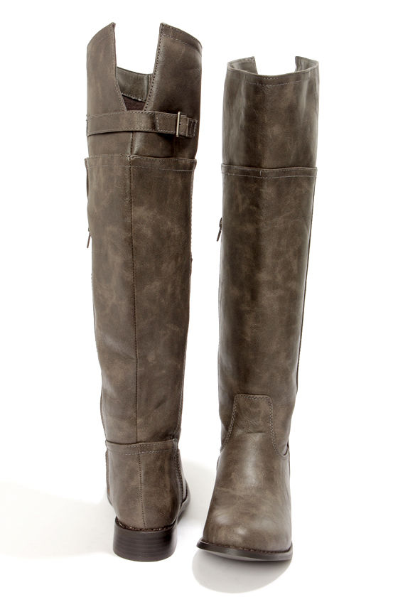 Rider 82 Taupe Knee High Riding Boots at Lulus.com!