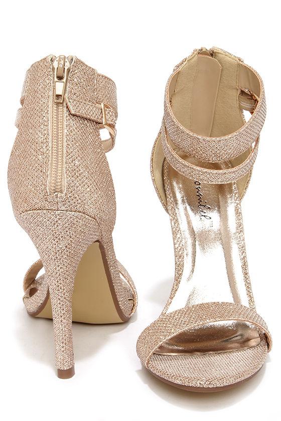 aa16d4f8af7 Pretty Glitter Heels - Champagne Heels - Rose Gold Heels -  29.00