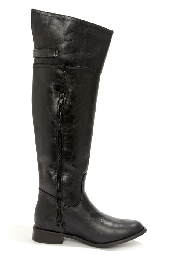 Rider 82 Black Knee High Riding Boots at Lulus.com!