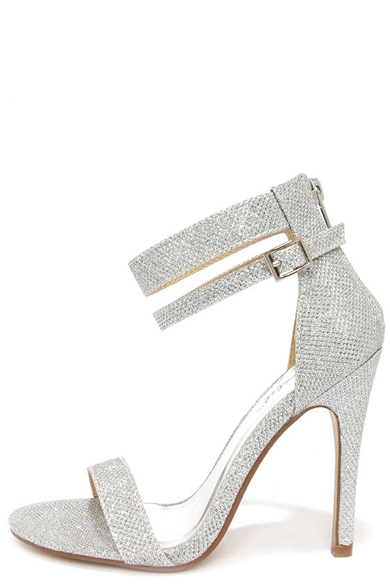 Pretty Glitter Heels - Silver Heels - Ankle Strap Heels -  29.00 65d096655a3d