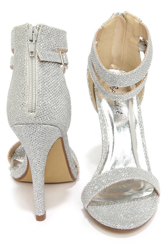Pretty Glitter Heels - Silver Heels - Ankle Strap Heels - $29.00
