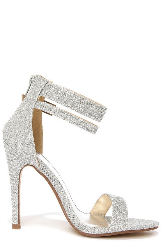 pretty glitter heels silver heels ankle strap heels