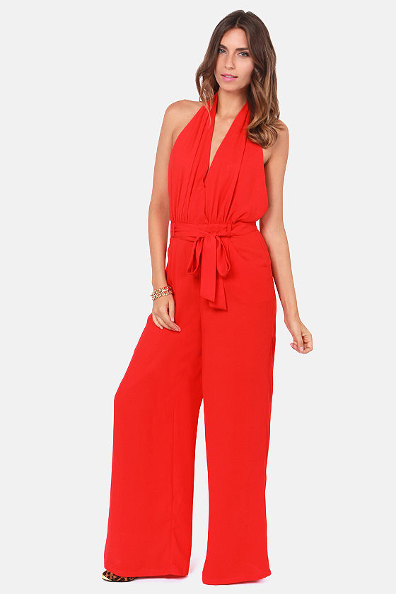 Sexy Red Jumpsuit - Backless Jumpsuit - Halter Jumpsuit - $49.00
