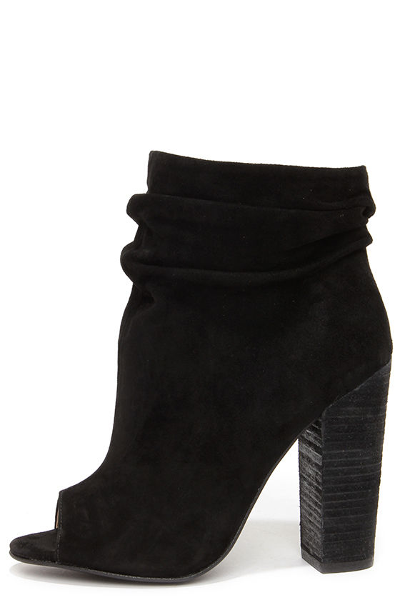 Image result for black suede peep toe boots