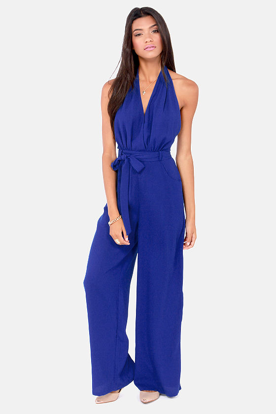 Sexy Blue Jumpsuit - Backless Jumpsuit - Halter Jumpsuit - $49.00