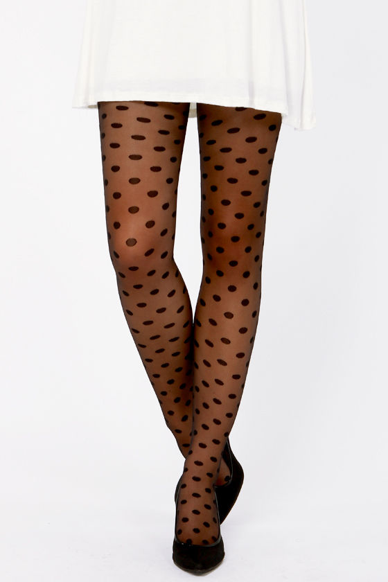Tabbisocks Popping Dots Sheer Black Polka Dot Tights at Lulus.com!