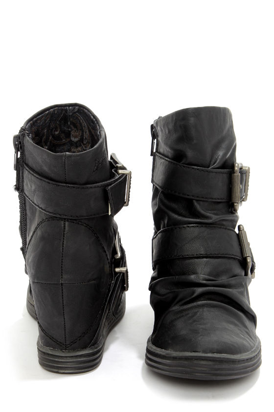 Blowfish Tugo Black Belted Wedge Booties at Lulus.com!