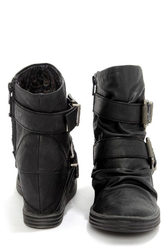 Cute Black Booties - Wedge Booties