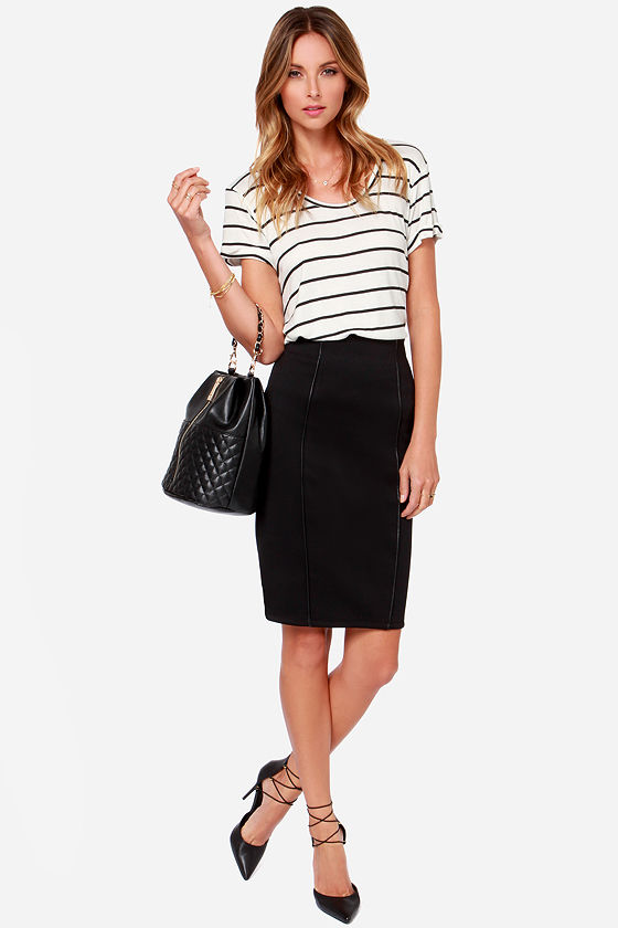 Black Swan Yoko Black Pencil Skirt at Lulus.com!