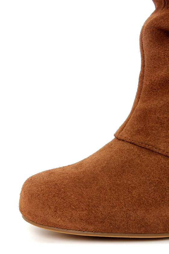 Naughty Monkey Fall Fever Tan Leather Laced-Back Knee High Boots at Lulus.com!