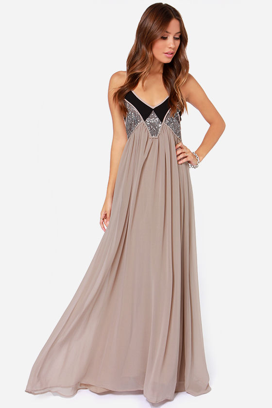 3f842ea1ec1 Sequin Dress - Taupe Dress - Maxi Dress -  44.00