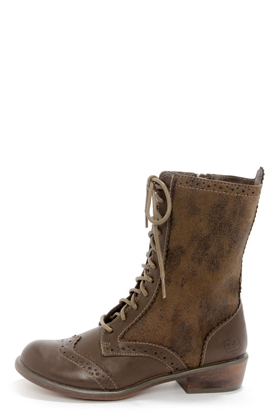 Cute Taupe Boots - Combat Boots - Lace