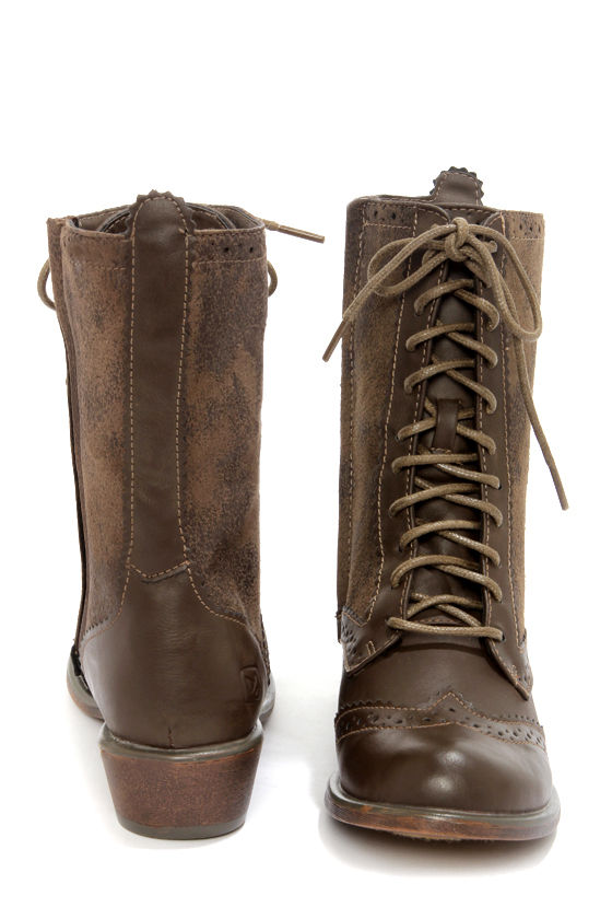 Dirty Laundry Paxton Distressed Taupe Brogue Lace-Up Boots at Lulus.com!