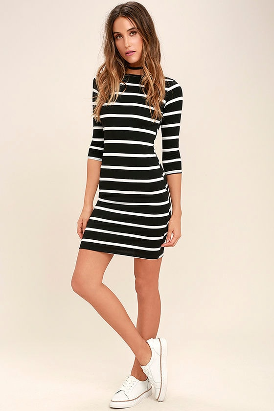 Cute Black Dress - Striped Dress - Body-con Dress - $35.00