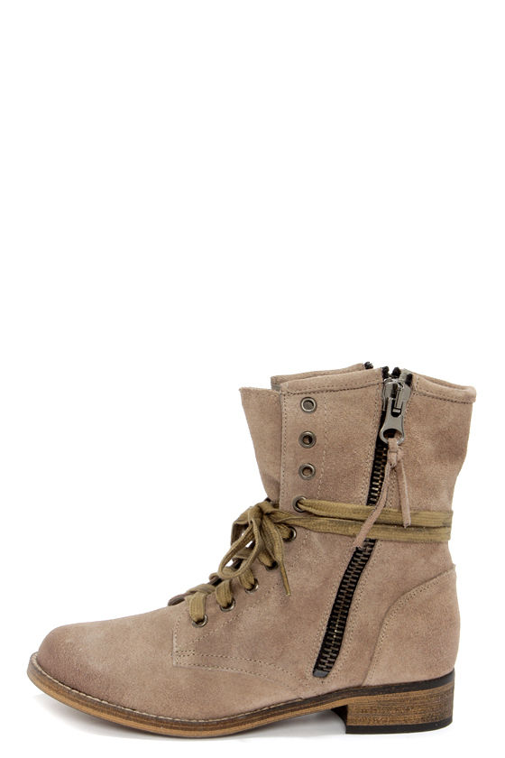 Cute Suede Boots - Grey Boots - Lace-Up Boots - Ankle Boots - $139.00