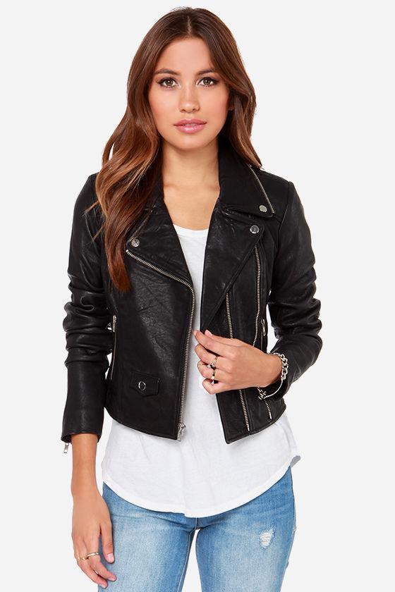 Moto Black Leather Jacket - Jacket