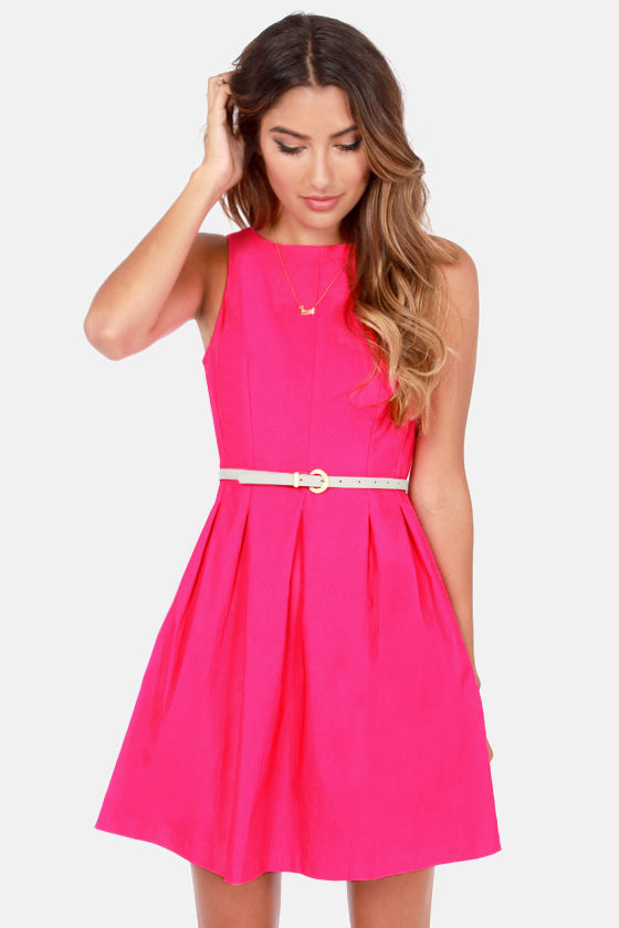 Cute Fuchsia Dress - Pink Dress - Sleeveless Dress - $42.00
