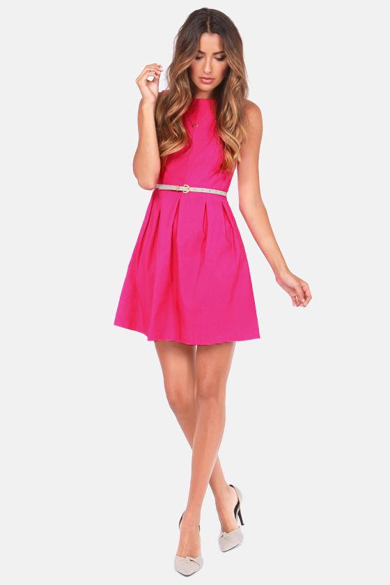 Cute Fuchsia Dress - Pink Dress - Sleeveless Dress - $42.00