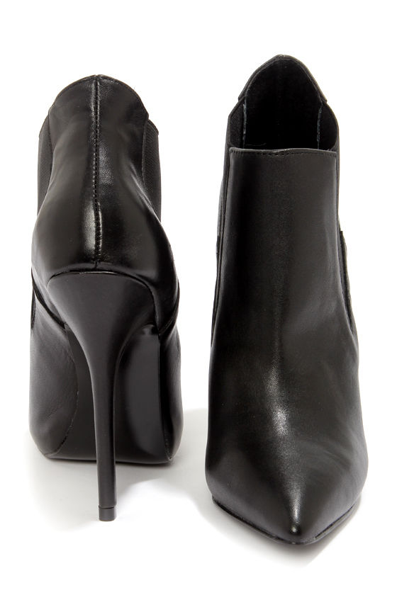 8544bc18e15 Sexy Black Heels - Leather Booties - High Heel Booties -  149.00