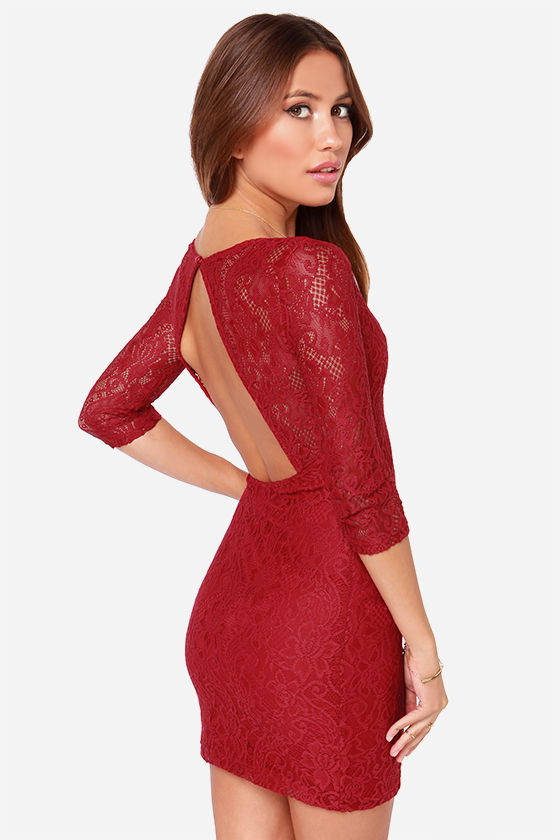 LULUS Exclusive Curve Appeal Wine Red Lace Dress at Lulus.com!