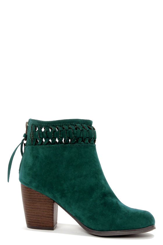 Cute Suede Boots - Ankle Boots - Teal Shoes - $76.00