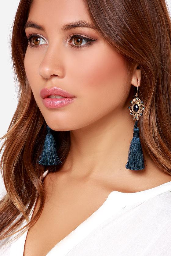 Pretty Navy Blue Earrings - Tassel Earrings