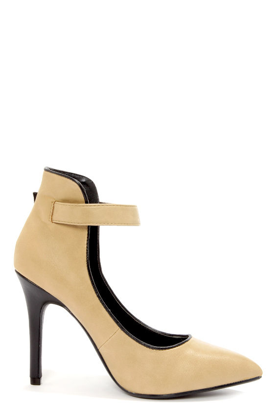 My Delicious Gilroy Taupe High Back Ankle Strap Heels at Lulus.com!
