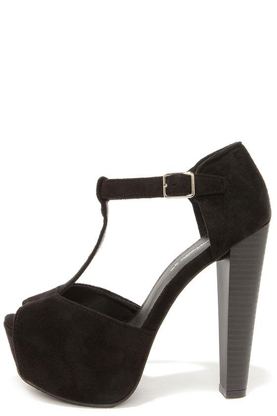 Cute Black Heels - T-Strap Heels - Platform Heels - $32.00