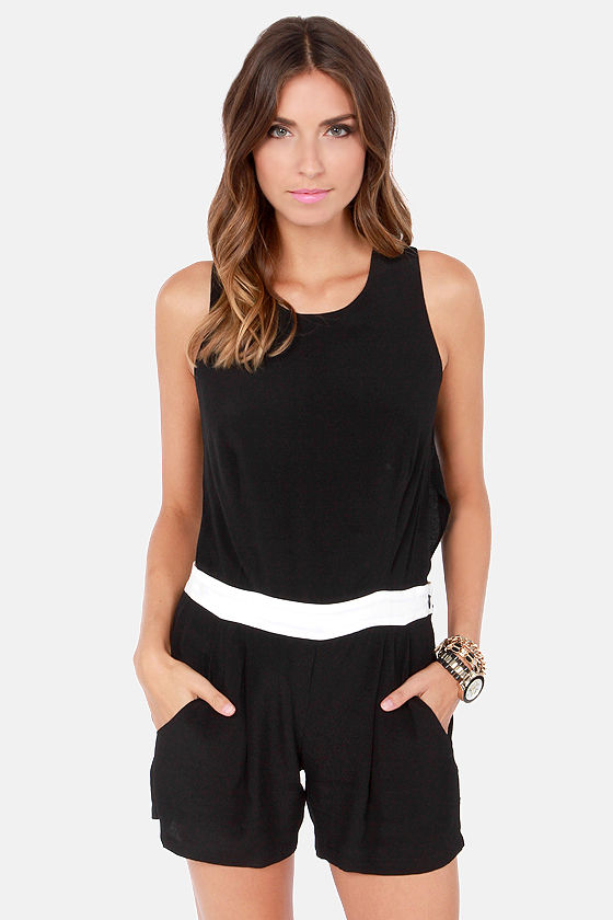 Wear-Abouts White and Black Romper at Lulus.com!