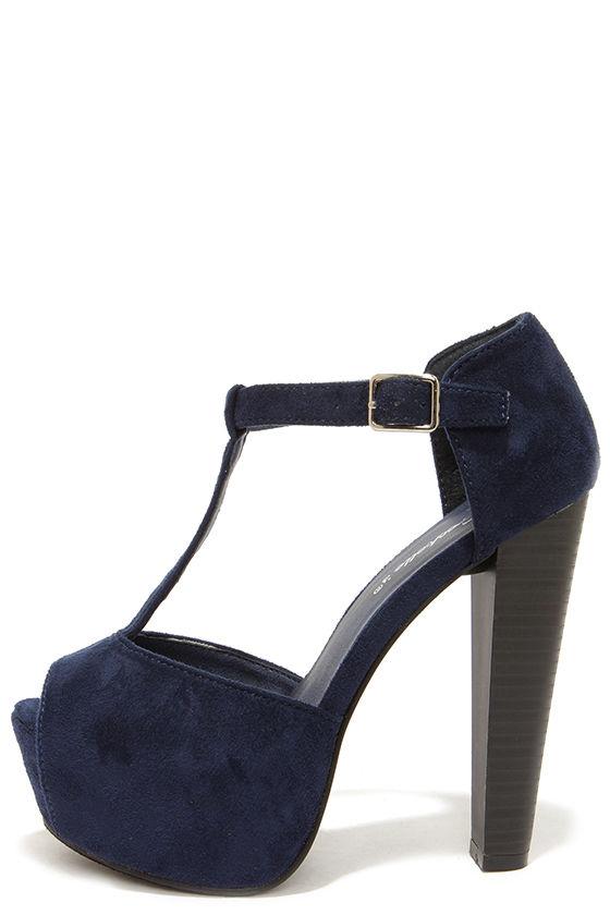 Cute Navy Blue Heels - T-Strap Heels