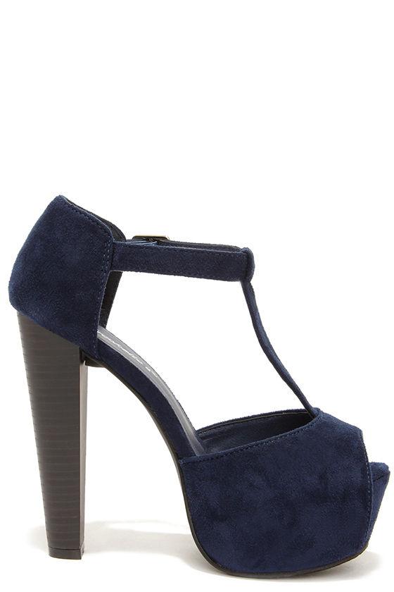 Cute Navy Blue Heels - T-Strap Heels - Platform Heels - $32.00