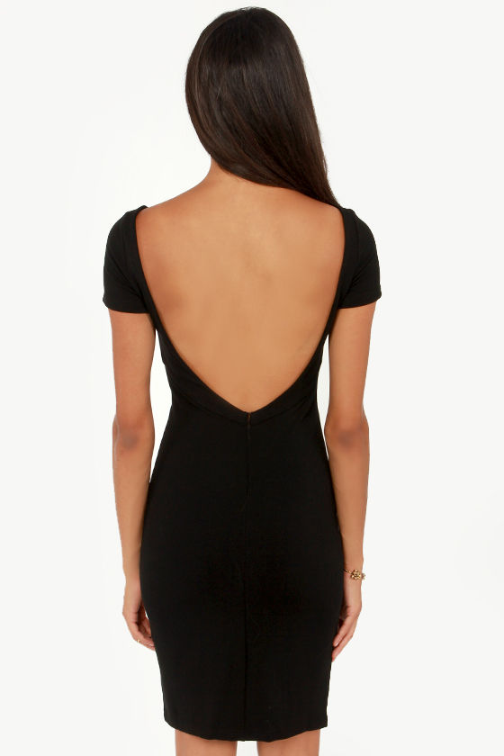 Back That Class Up Backless Black Midi Dress at Lulus.com!