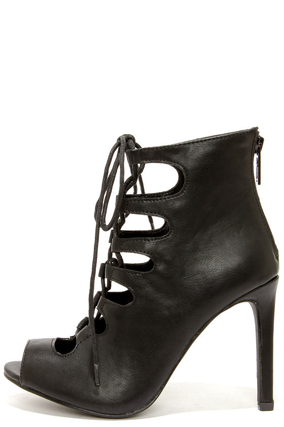 Pretty Black Heels - Lace-Up Heels - Caged Heels - Booties - $32.00