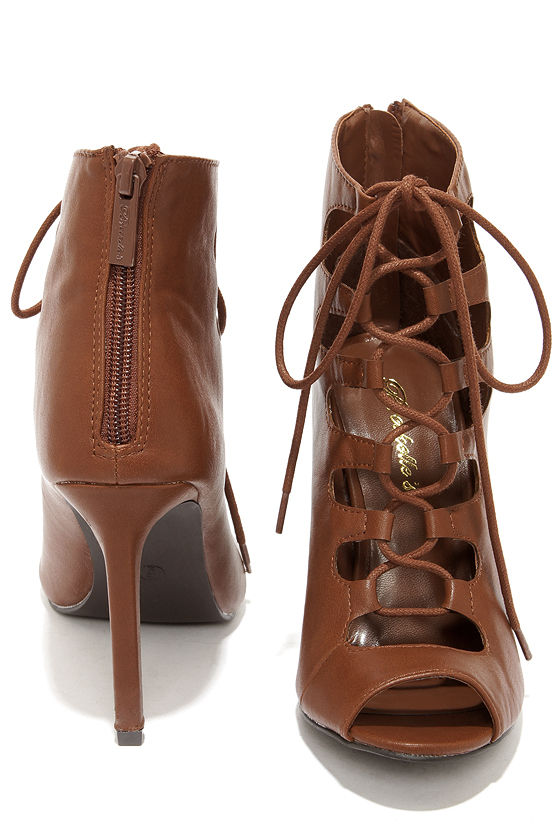 Pretty Tan Heels - Lace-Up Heels - Caged Heels - Booties - $32.00