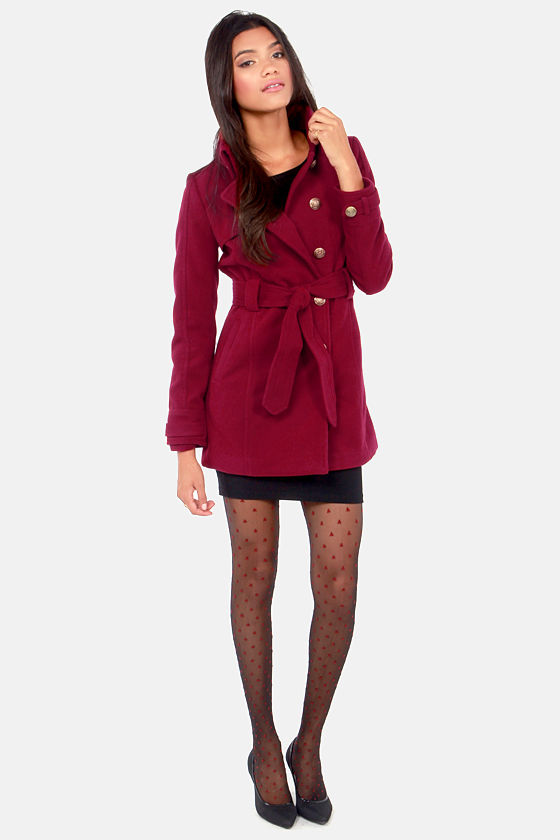 BB Dakota by Jack Camelot Wine Red Belted Pea Coat at Lulus.com!
