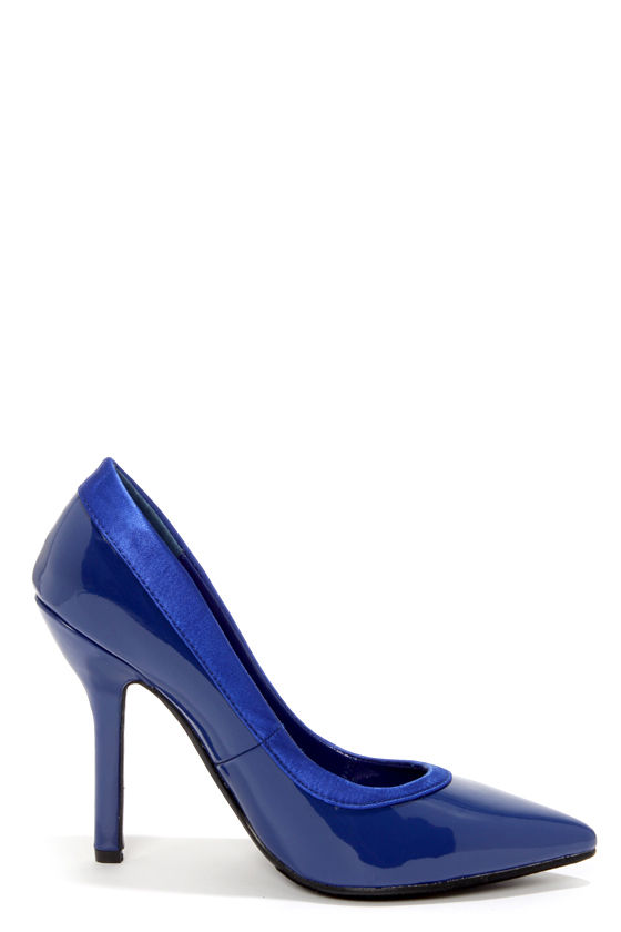 C Label Luxe 11 Navy Blue Patent Pointed Pumps at Lulus.com!