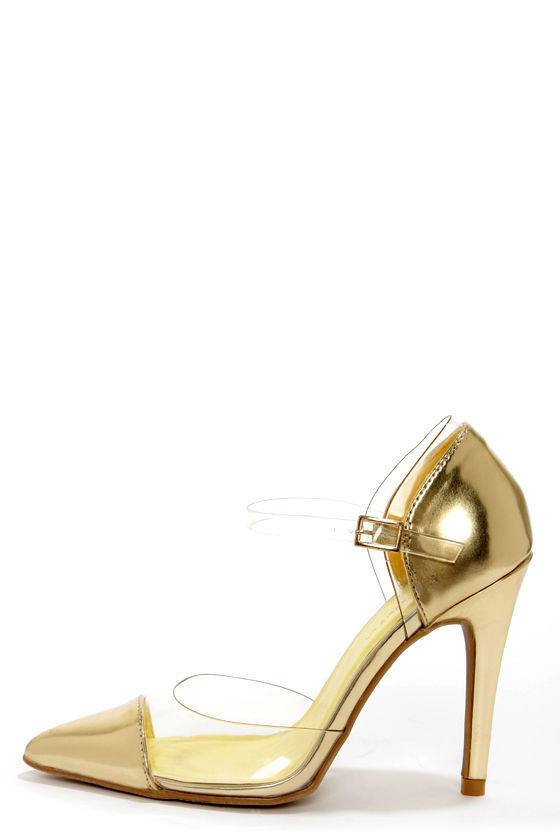 7adc80a3183 Sexy Gold Heels - Lucite Heels - Pointed Pumps -  40.00